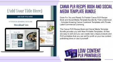 Canva PLR Recipe Book and Social Media Template Bundle