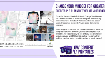 Change Your Mindset For Greater Success PLR Planner Template Workbook