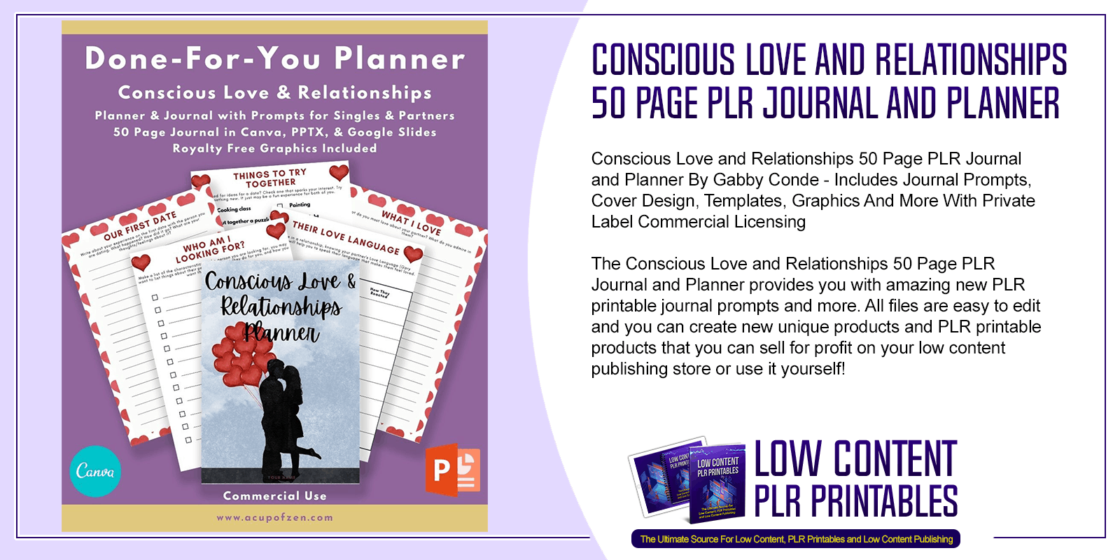 Conscious Love and Relationships 50 Page PLR Journal and Planner