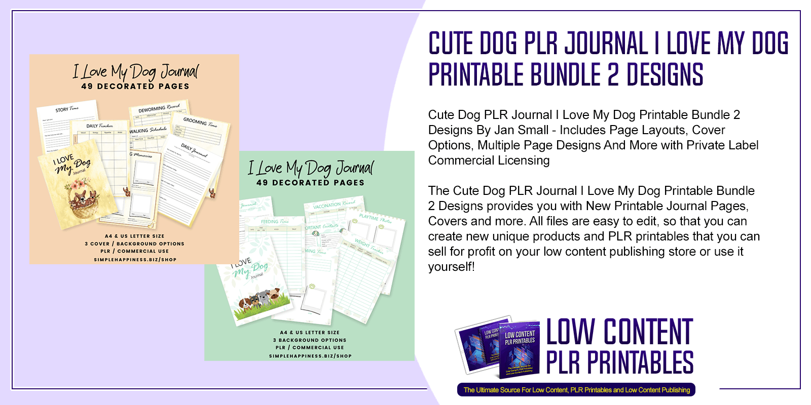 Cute Dog PLR Journal I Love My Dog Printable Bundle 2 Designs