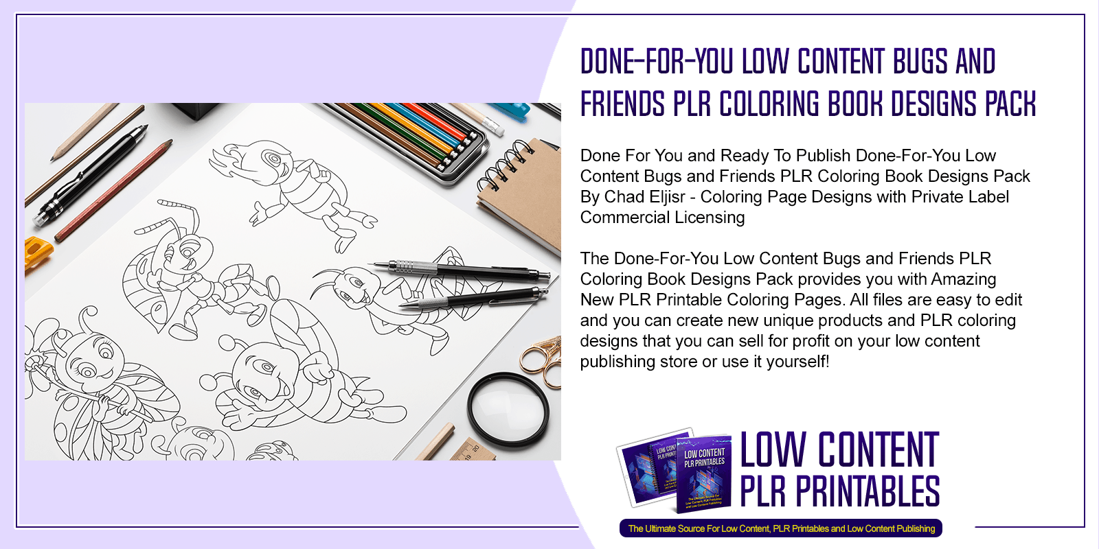 Done For You Low Content Bugs and Friends PLR Coloring Book Designs Pack