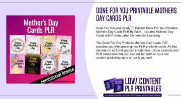 Done For You Printable Mothers Day Cards PLR