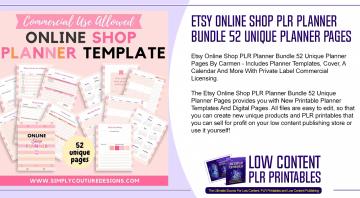 Etsy Online Shop PLR Planner Bundle 52 Unique Planner Pages