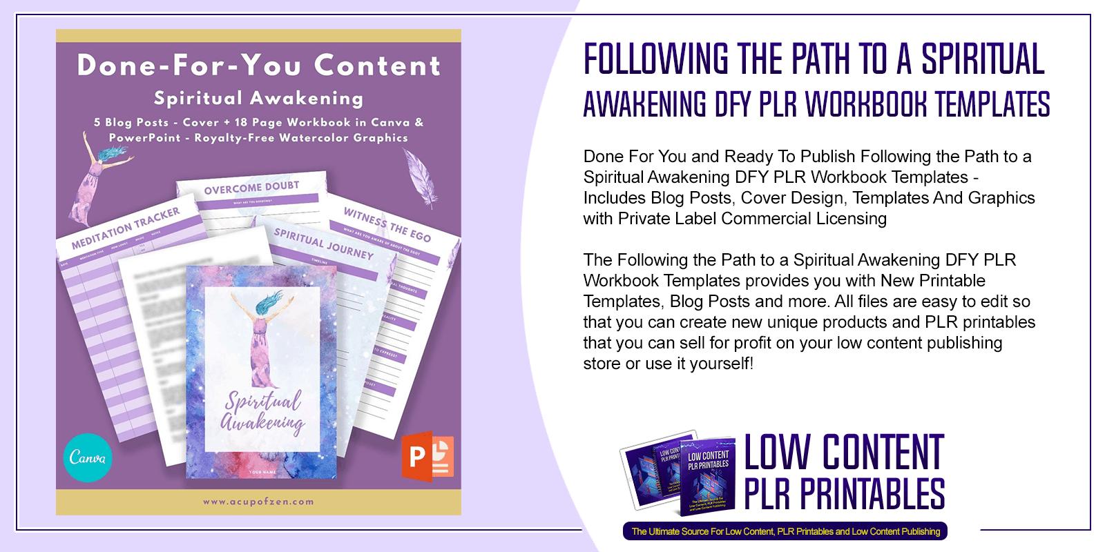 Following the Path to a Spiritual Awakening DFY PLR Workbook Templates