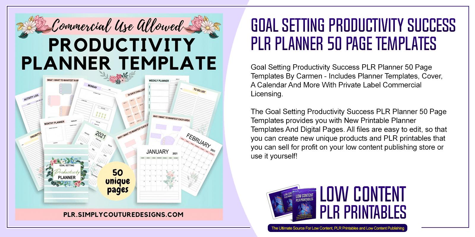 Goal Setting Productivity Success PLR Planner 50 Page Templates