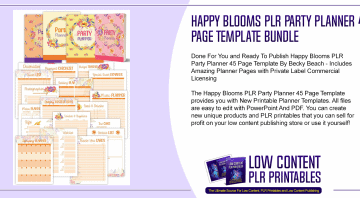 Happy Blooms PLR Party Planner 45 Page Template