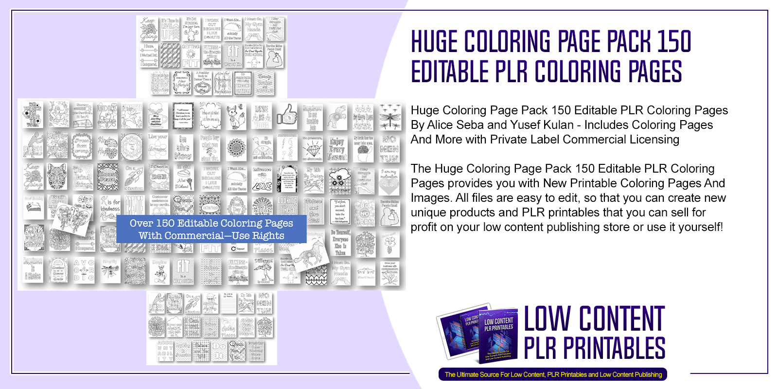 Huge Coloring Page Pack 150 Editable PLR Coloring Pages