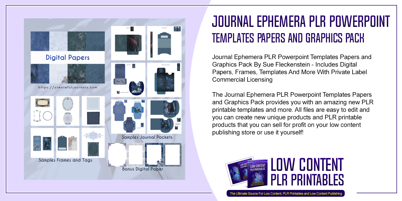 Journal Ephemera PLR Powerpoint Templates Papers and Graphics Pack