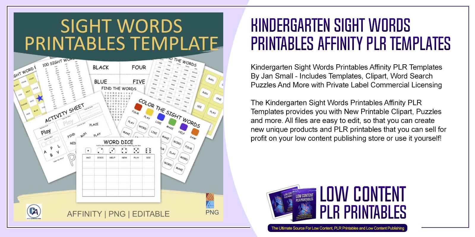 Kindergarten Sight Words Printables Affinity PLR Templates