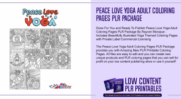 Peace Love Yoga Adult Coloring Pages PLR Package