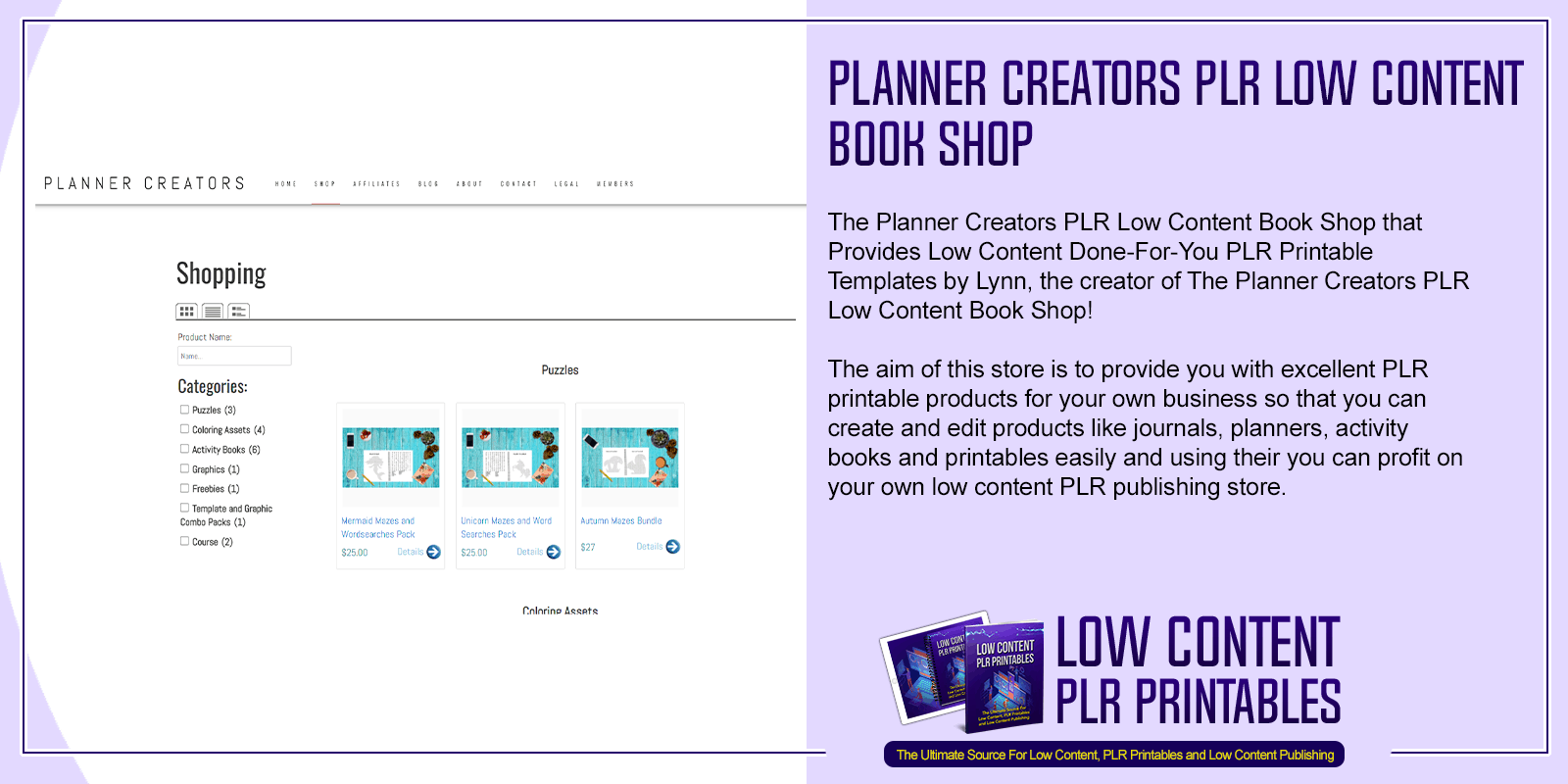Planner Creators PLR Low Content Book Shop