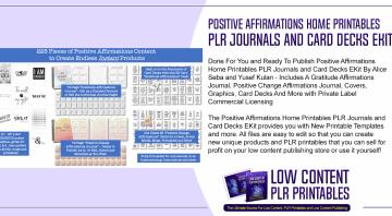 Positive Affirmations Home Printables PLR Journals and Card Decks EKit
