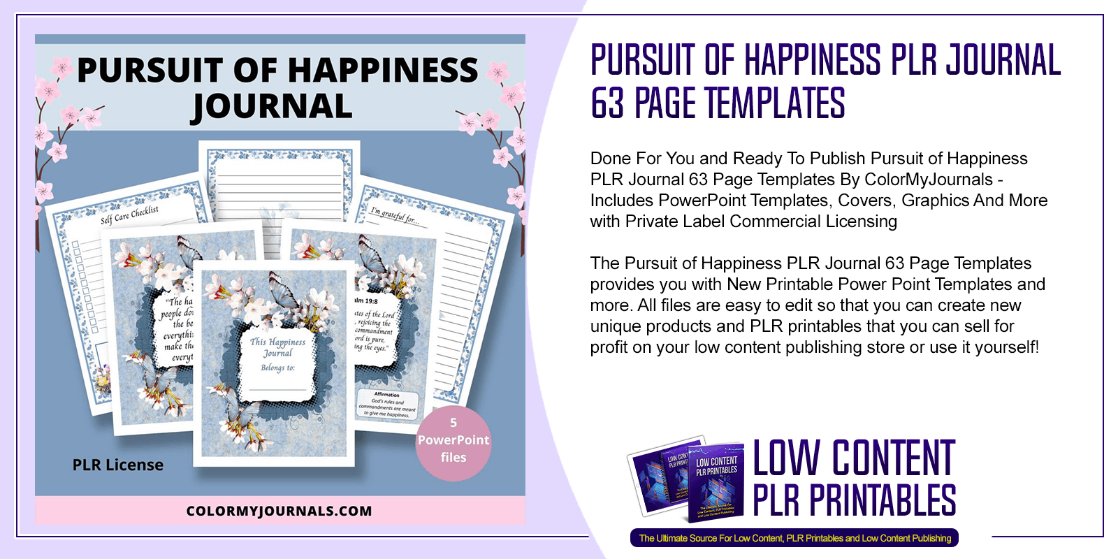 Pursuit of Happiness PLR Journal 63 Page Templates