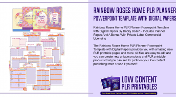 Rainbow Roses Home PLR Planner Powerpoint Template with Digital Papers