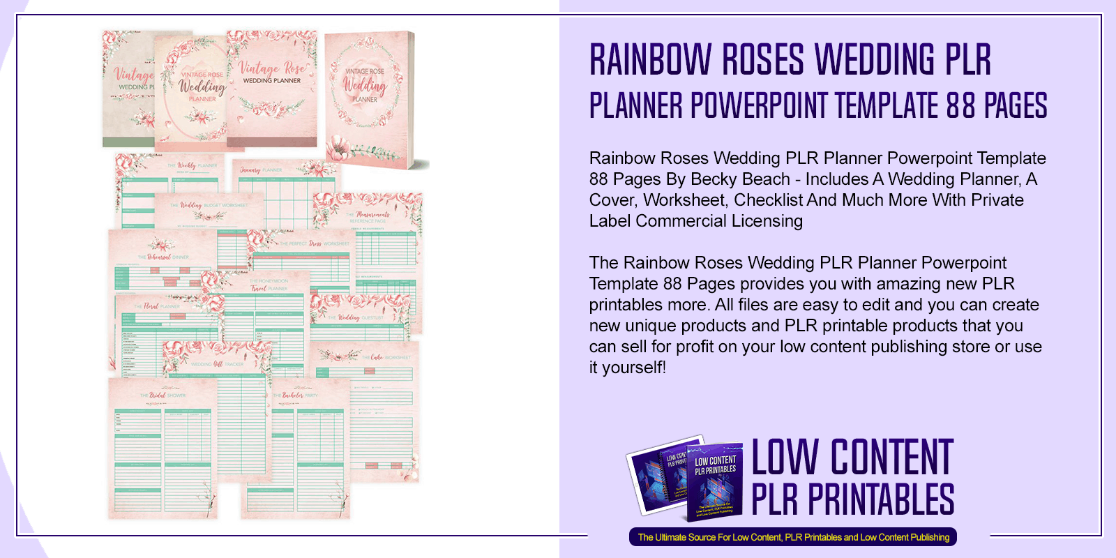Rainbow Roses Wedding PLR Planner Powerpoint Template 88 Pages