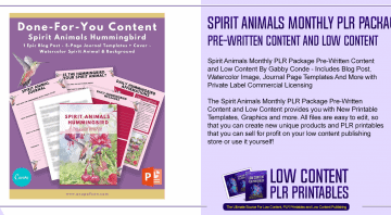 Spirit Animals Monthly PLR Package Pre Written Content and Low Content