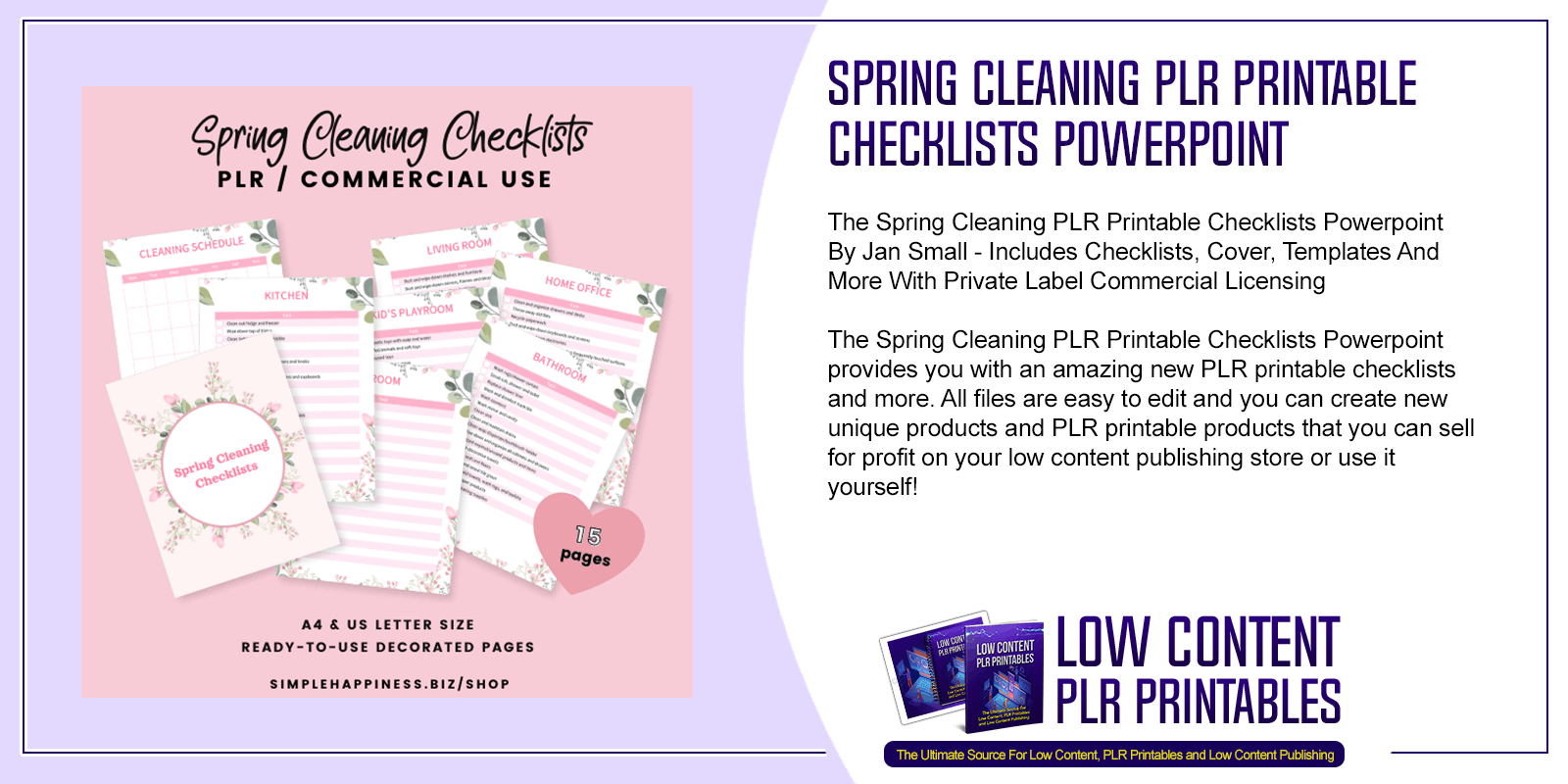 Spring Cleaning PLR Printable Checklists Powerpoint