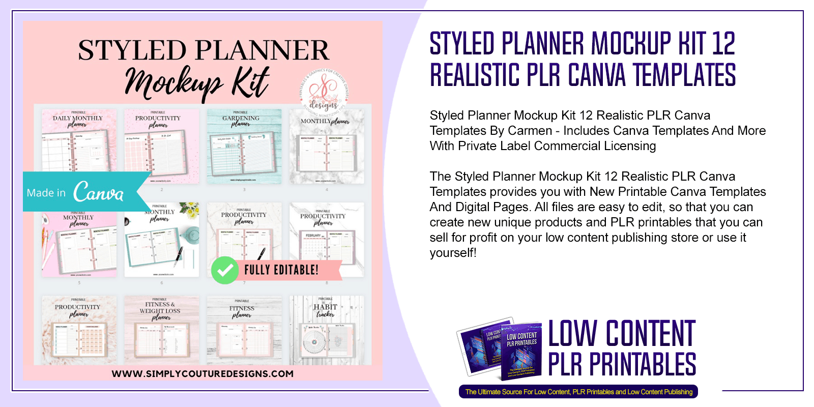 Styled Planner Mockup Kit 12 Realistic PLR Canva Templates