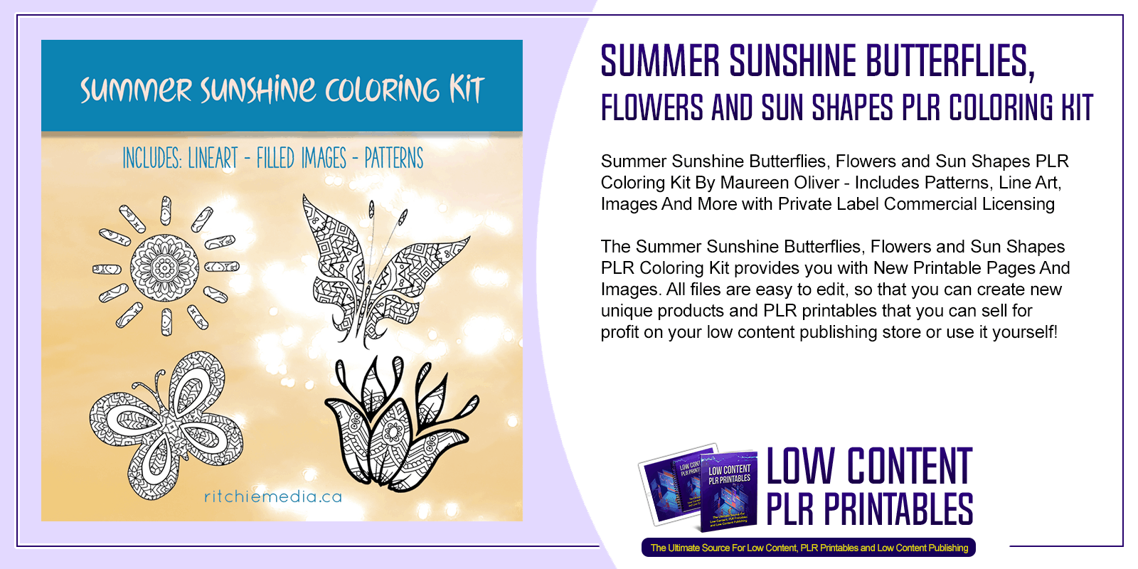 Summer Sunshine Butterflies Flowers and Sun Shapes PLR Coloring Kit