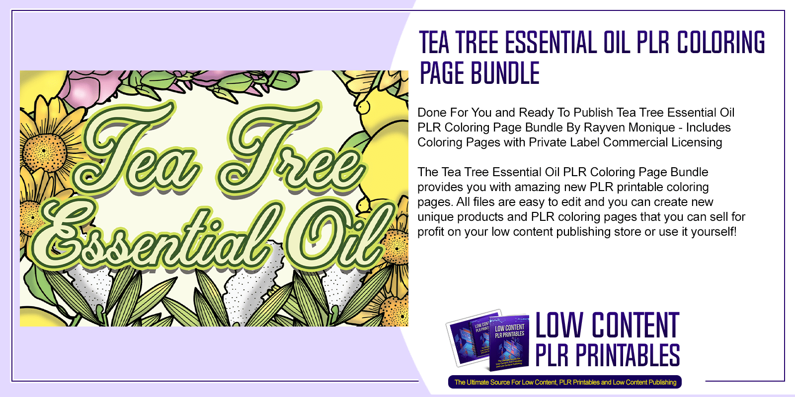 Tea Tree Essential Oil PLR Coloring Page Bundle
