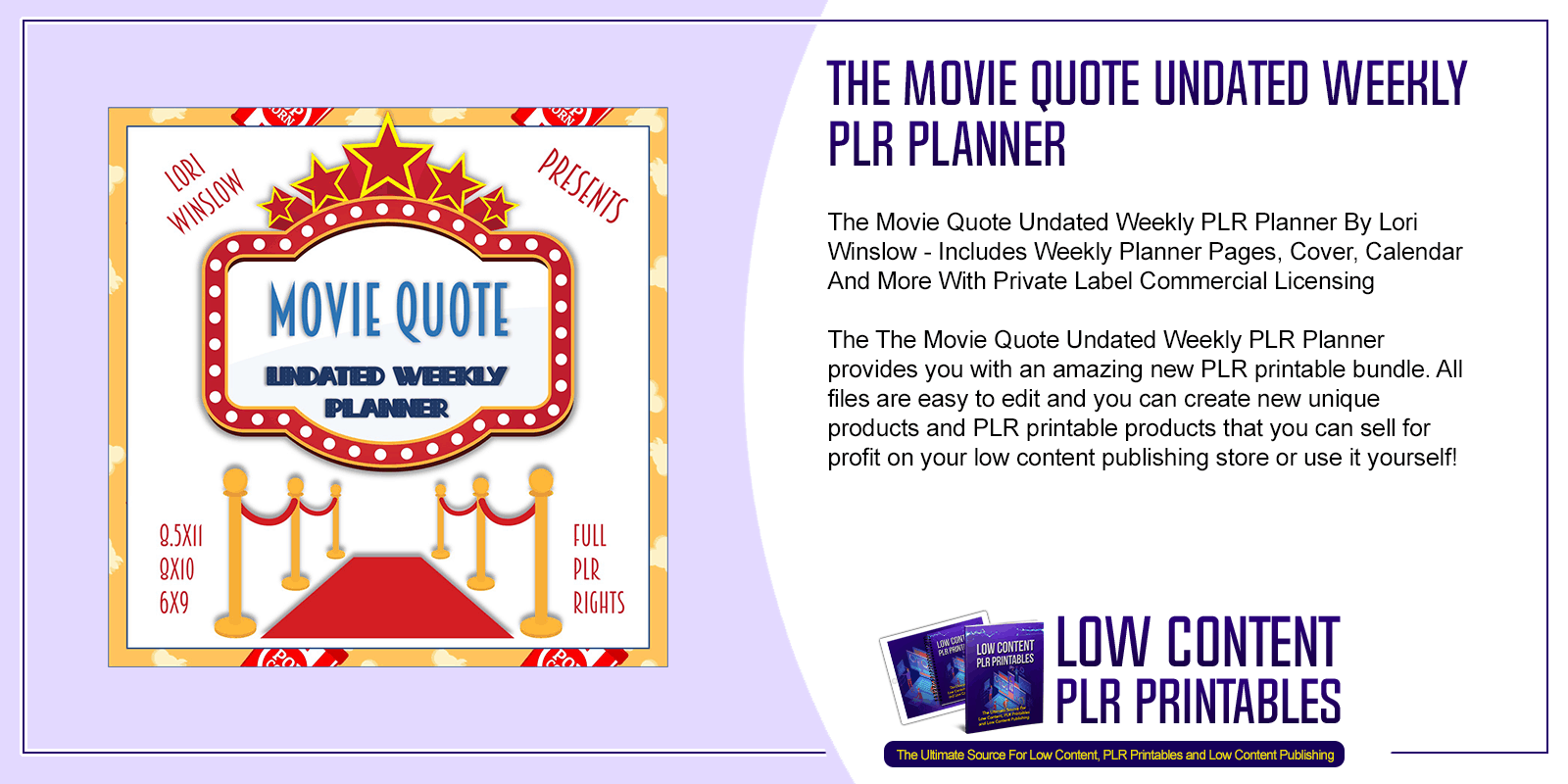 The Movie Quote Undated Weekly PLR Planner