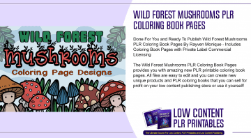 Wild Forest Mushrooms PLR Coloring Book Pages