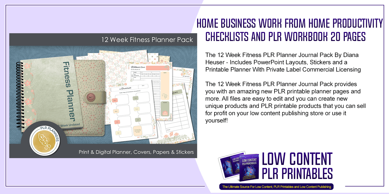 12 Week Fitness PLR Planner Journal Pack