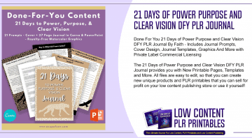 21 Days of Power Purpose and Clear Vision DFY PLR Journal 1