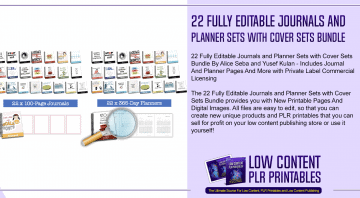 22 Fully Editable Journals and Planner Sets with Cover Sets Bundle