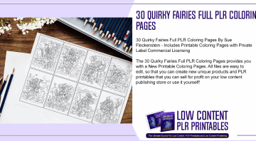 30 Quirky Fairies Full PLR Coloring Pages