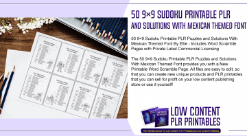 50 9×9 Sudoku Printable PLR Puzzles and Solutions With Mexican Themed Font