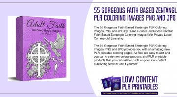 55 Gorgeous Faith Based Zentangle PLR Coloring Images PNG and JPG