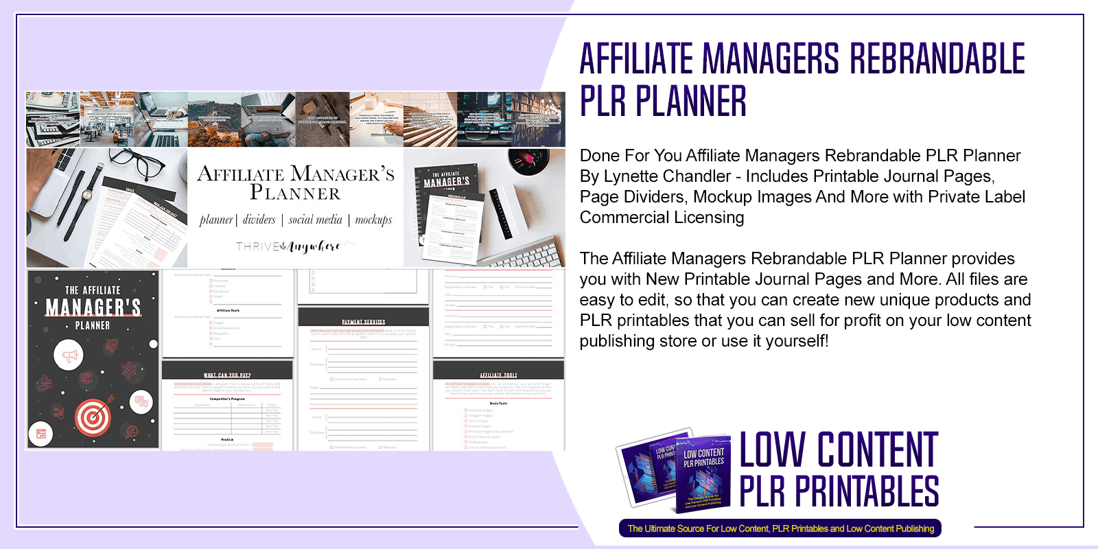 Affiliate Managers Rebrandable PLR Planner