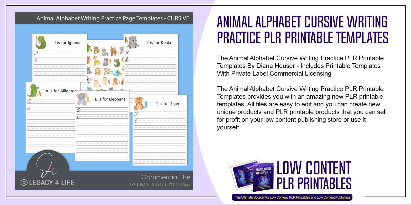 Animal Alphabet Cursive Writing Practice PLR Printable Templates