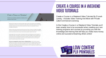 Create a Course in a Weekend Video Tutorials