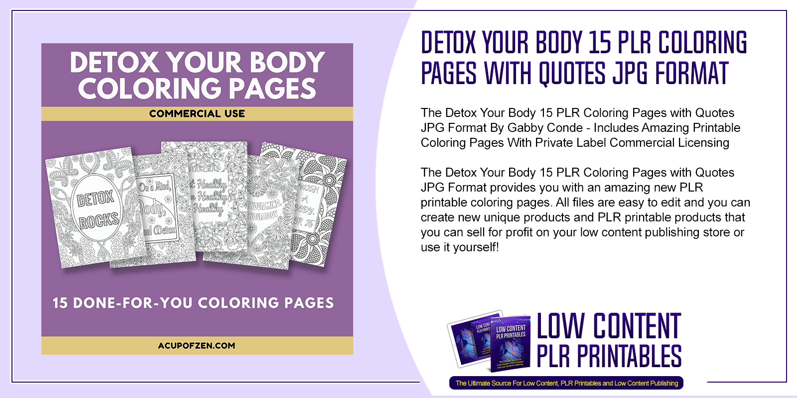 Detox Your Body 15 PLR Coloring Pages with Quotes JPG Format