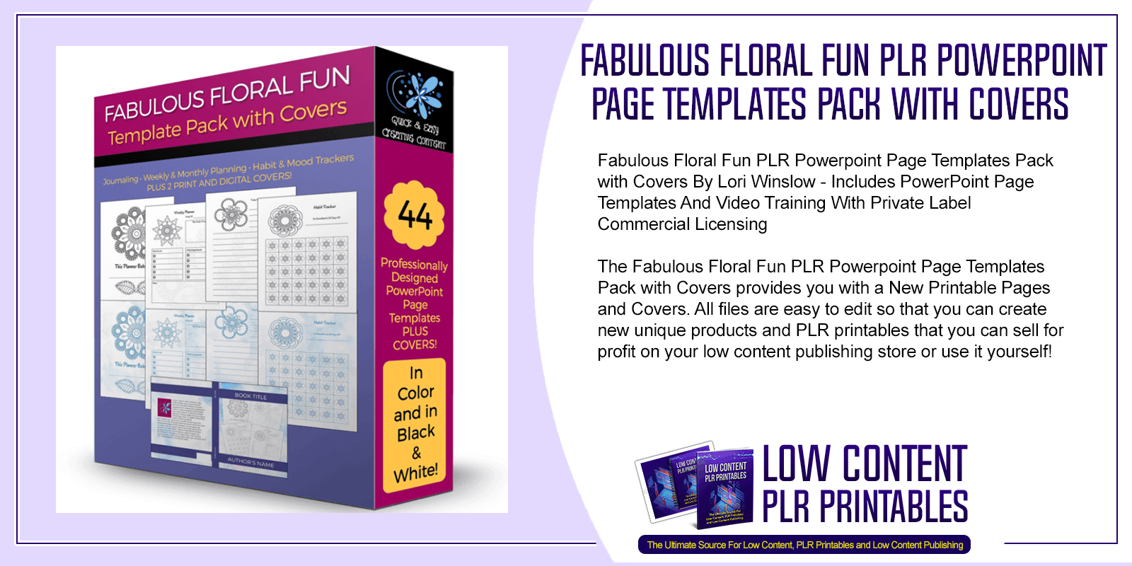 Fabulous Floral Fun PLR Powerpoint Page Templates Pack with Covers