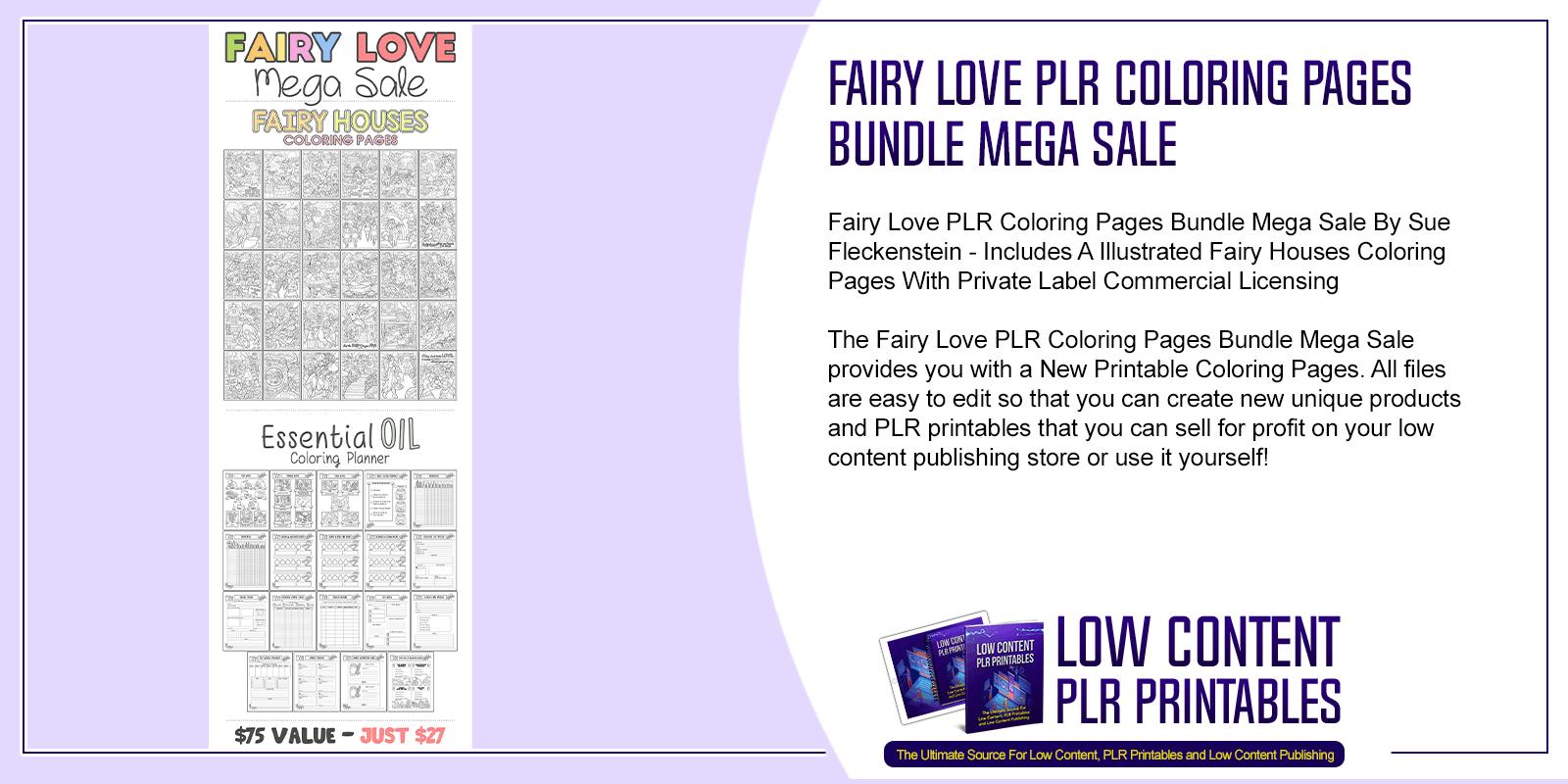Fairy Love PLR Coloring Pages Bundle Mega Sale