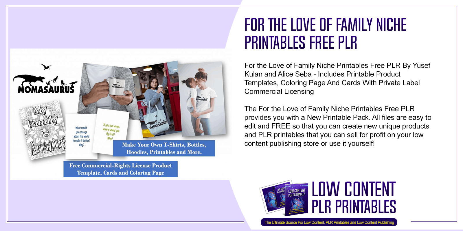 For the Love of Family Niche Printables Free PLR