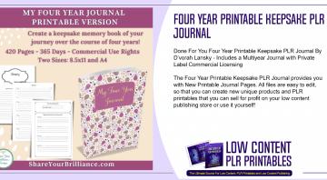 Four Year Printable Keepsake PLR Journal