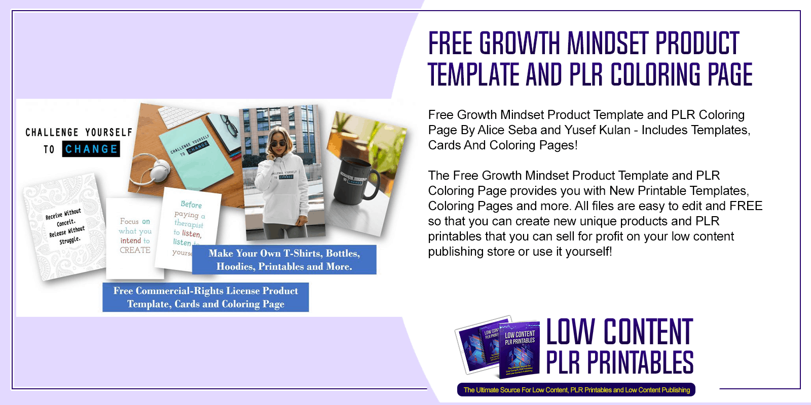 Free Growth Mindset Product Template and PLR Coloring Page