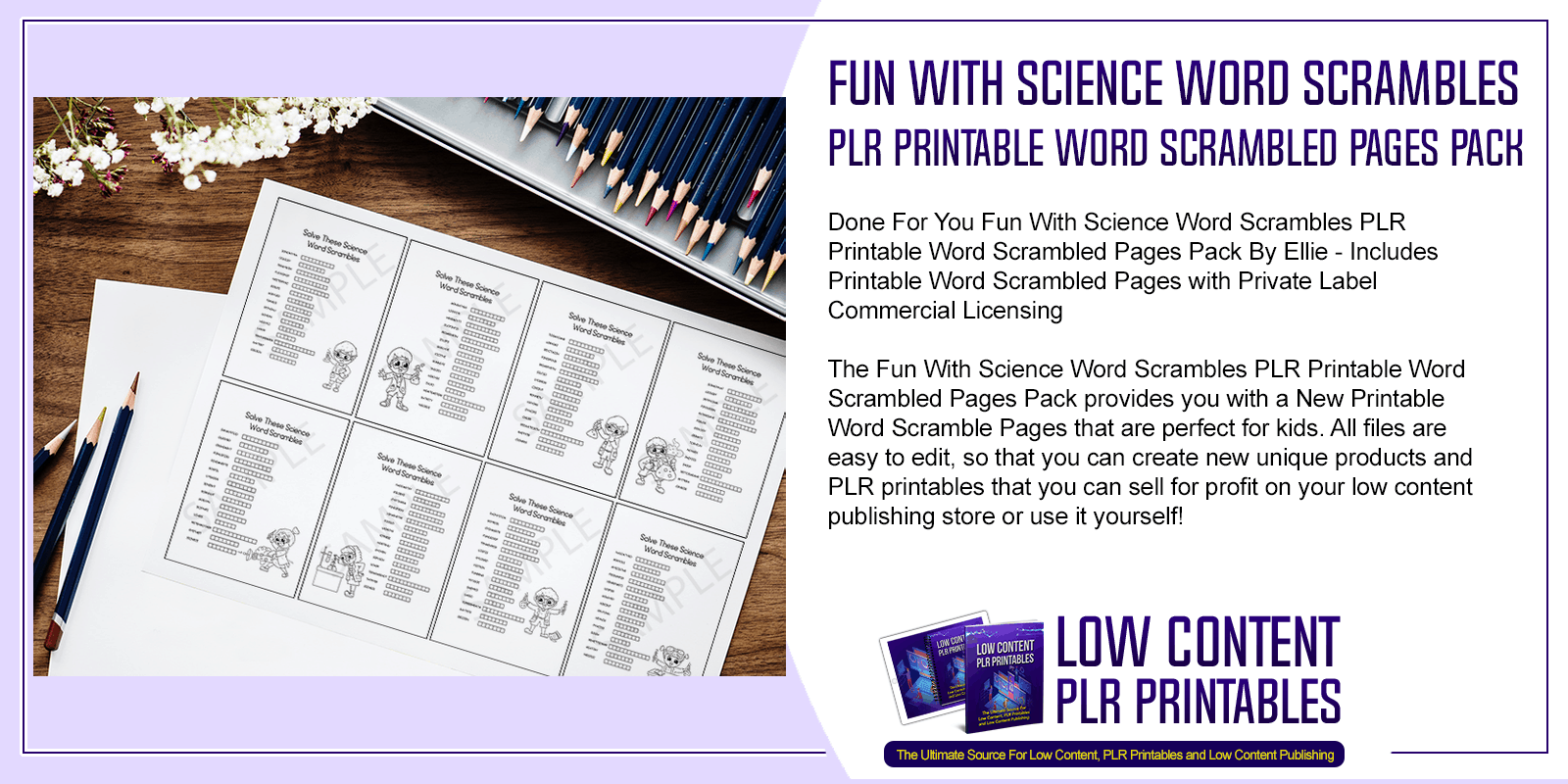 Fun With Science Word Scrambles PLR Printable Word Scrambled Pages Pack