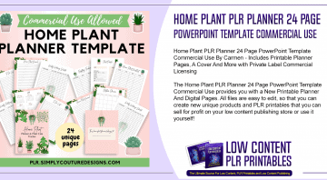 Home Plant PLR Planner 24 Page PowerPoint Template Commercial Use