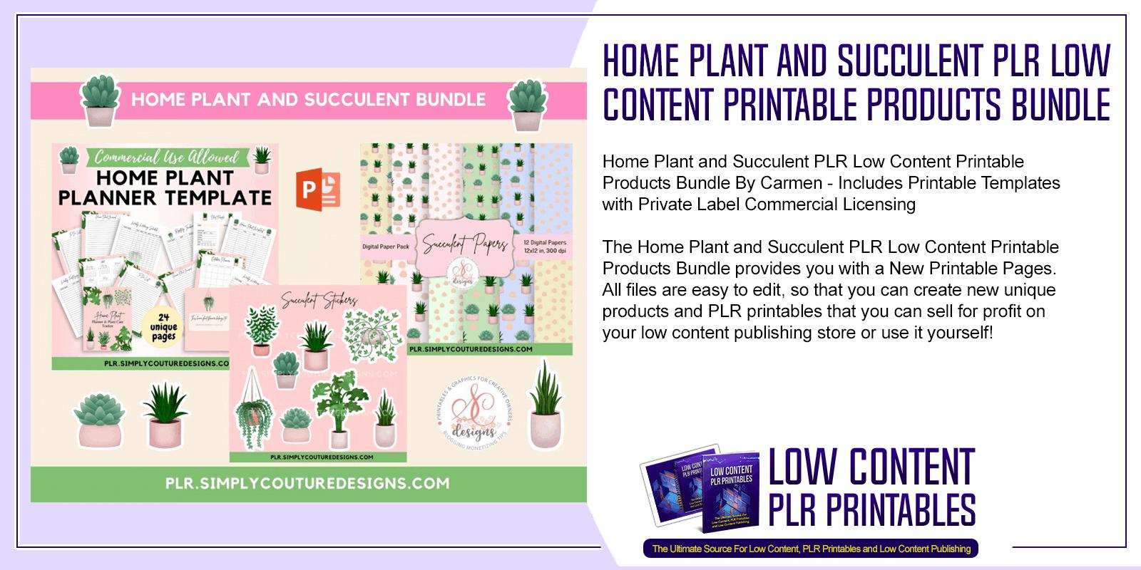 Home Plant and Succulent PLR Low Content Printable Products Bundle