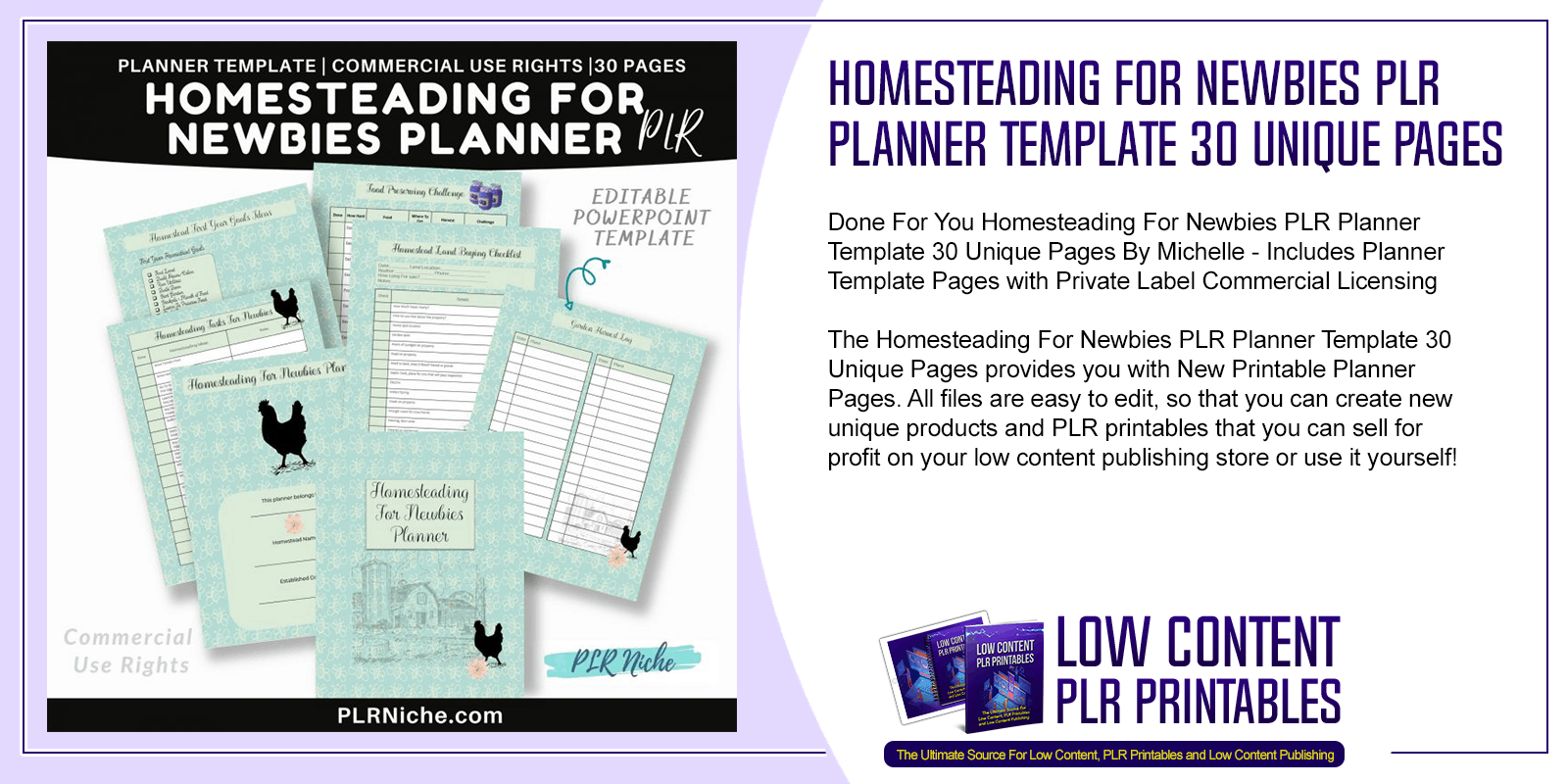Homesteading For Newbies PLR Planner Template 30 Unique Pages