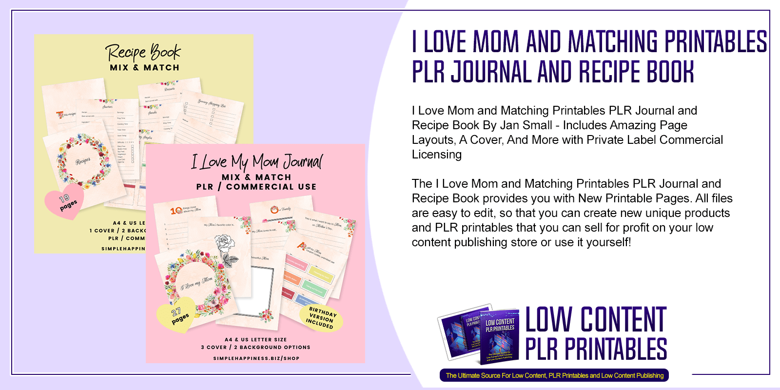 I Love Mom and Matching Printables PLR Journal and Recipe Book