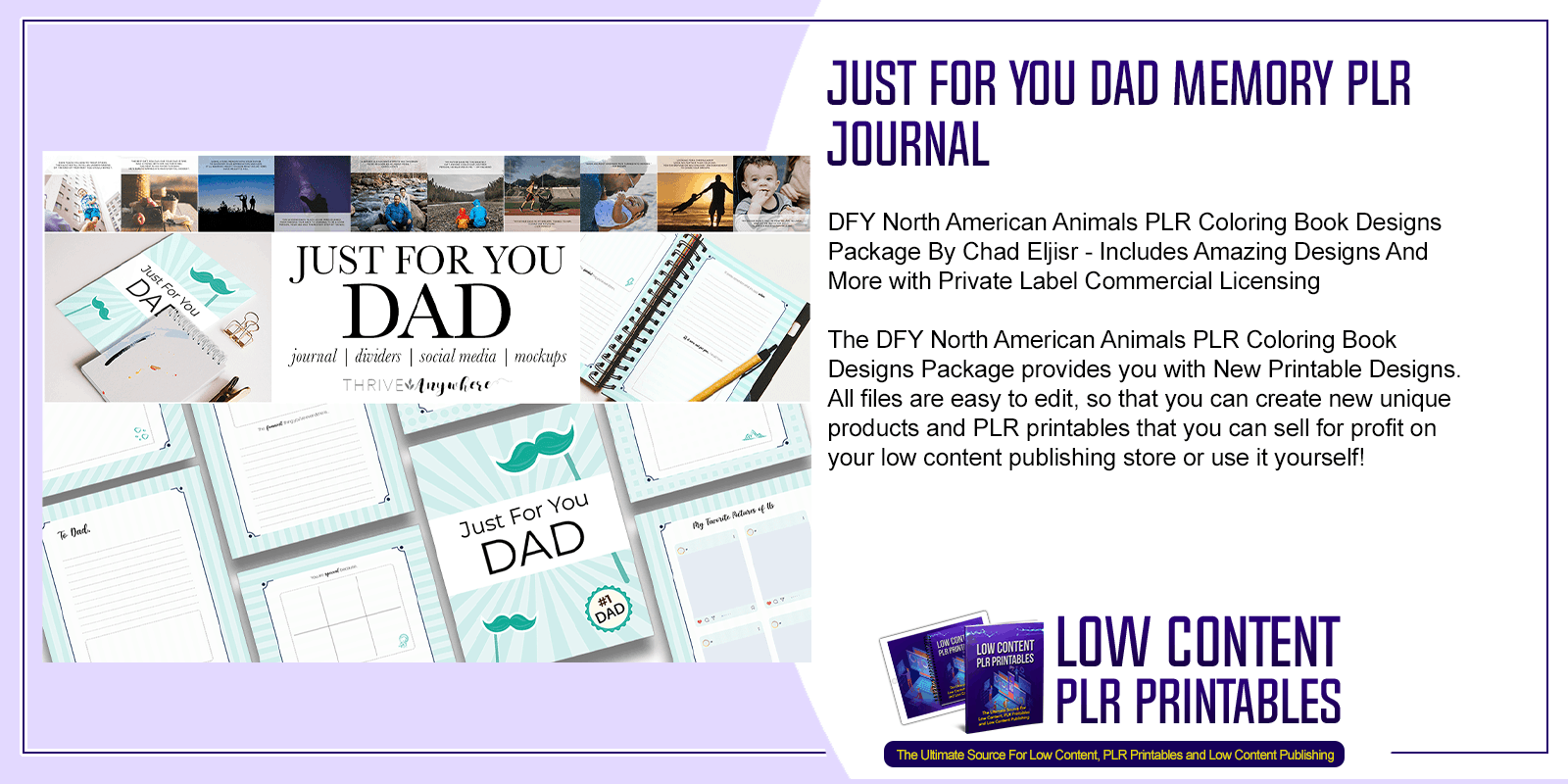 Just For You Dad Memory PLR Journal