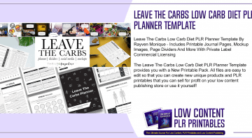 Leave The Carbs Low Carb Diet PLR Planner Template