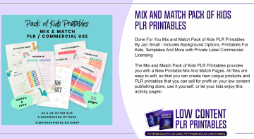Mix and Match Pack of Kids PLR Printables