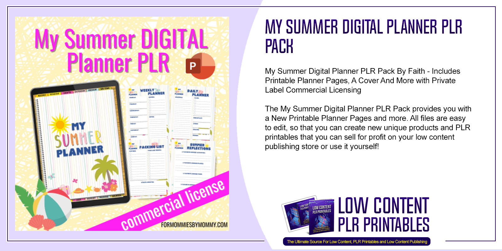 My Summer Digital Planner PLR Pack